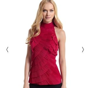 White House Black Market Red Ruffle Top Blouse